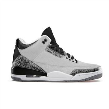 Authentic 136064-004 Air Jordan 3 Retro Wolf Grey/Metallic Silver-Black-White