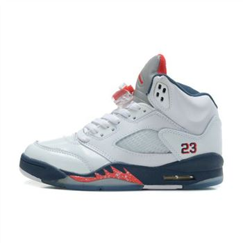 440888-103 Air Jordan Retro 5 Sneakers In White Varstiy Red Mid Navy (Women Men Gs Girls)