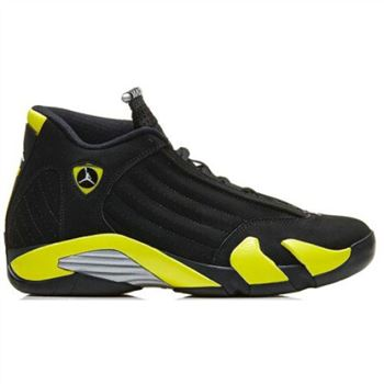 Authentic 487471-070 Air Jordan 14 Retro Black/Vibrant Yellow-White