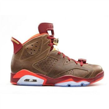 Authentic 384664-250 Air Jordan 6 Retro Raw Umber/Team Red-Metallic Gold-Chilling Red