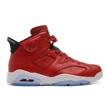 Authentic 694091-625 Air Jordan 6 Retro Varsity Red/Classic Green-Black-White