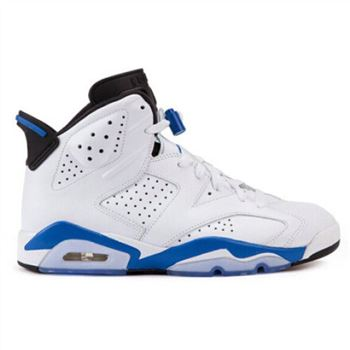 Authentic 384664-107 Air Jordan 6 Retro White/Sport Blue-Black( Men Women GS Youth Girls)