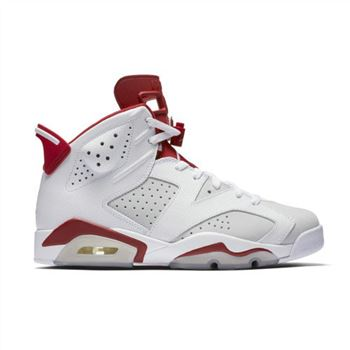 384664-113 Air Jordan 6 Retro White/Pure Platinum-Gym Red (Alternate)