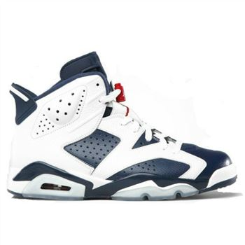 384664-130 Air Jordan Retro 6 Olympic 2012 White Midnight Navy Varsity Red (Women Men Gs Girls) A06012
