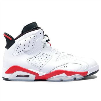 Authentic 384664-123 Air Jordan 6 (VI) Original White infrared Black Men's Shoe