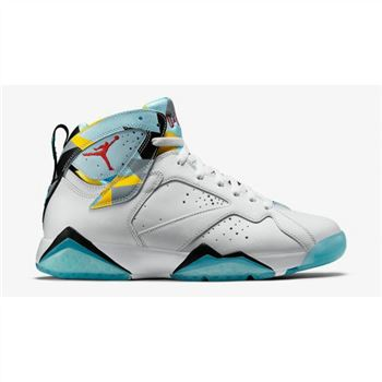 Authentic 744804-144 Air Jordan 7 Retro N7 White Dark Turquoise-Black-Ice Cube Blue