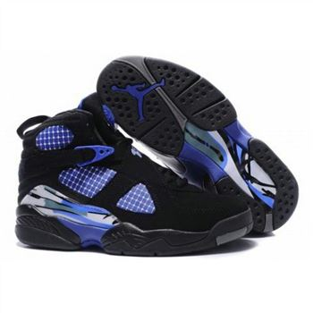 305889-110 Air Jordan 8 Retro Women Black True Blue A24007