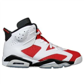 Authentic 384664-160 Air Jordan 6 Retro White/Carmine-Black Women's Shoe