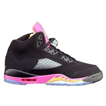 440892-067 Air Jordan 5 Retro Girls Black Bright Citrus-Fusion Pink