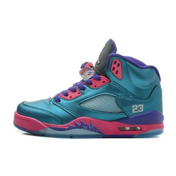 440892-307 Air Jordan 5 Retro GS Teal Pink-Purple